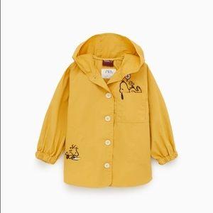 Zara girls golden yellow Snoopy parka